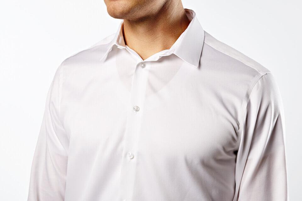 When you wear a white undershirt it shows through your dress shirt.